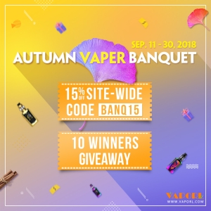 vaporl autumn banquet with 15% off site wide & 10 giveaways